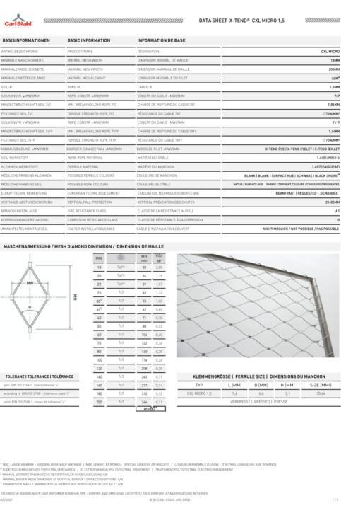Datasheet 1,5mm kabelnetten voorkant